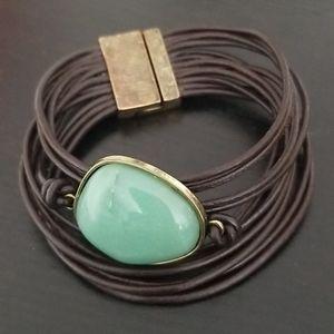 Boho Leather & Stone Bracelet